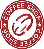 Kaffeeaufkleber Rot - 9x10 cm, 620085 - Wandtattoo für die Küche Wohnzimmer Text / - Coffeeshop - Kaffee Wandaufkleber Wandtatoos Sticker Aufkleber für die Wand, Fensterbild, Tapete, Fliesen, Autoaufkleber, Türaufkleber