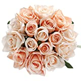 Marjon Fleurs artificielles en Soie 9 têtes de Roses artificielles pour la Maison, Le Jardin, la fête de Mariage (Champagne × 2)