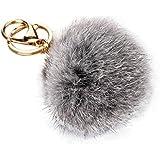 Sannysis® peletería del conejo de Peluche con anillo de bola Llave Llavero colgante Llave del coche