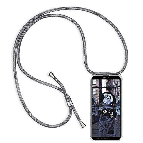 TUUT Handykette kompatibel mit Huawei Honor 9 Lite Handy-Kette Handy Hülle mit Kordel zum Umhängen Handyanhänger Halsband Lanyard Case/Handy Band Necklace [Stoßfest] - Grau Da-lite 150