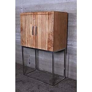 Armoire Bar 77x42 cm - MANGOX - bois / inox brossé - Jolipa 47036 - Vendu par Canapé-en-ligne