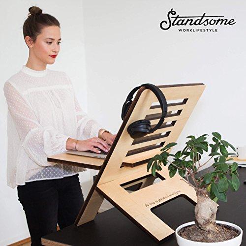 Stehschreibtisch Aufsatz aus Holz - Der höhenverstellbare STANDSOME SLIM Steh Sitz Schreibtisch für ein gesundes Arbeiten im Büro oder ganz egal wo - 6