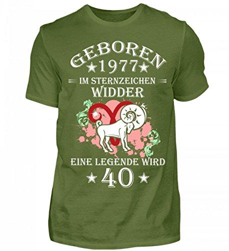 Shirtee Hochwertiges Herren ein Widder Wird 40 Mossgrün