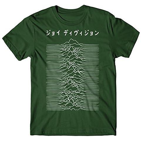 Herren-T-Shirt Joy Division Japan Logo - White Print - 100% baumwolle LaMAGLIERIA,M, grün