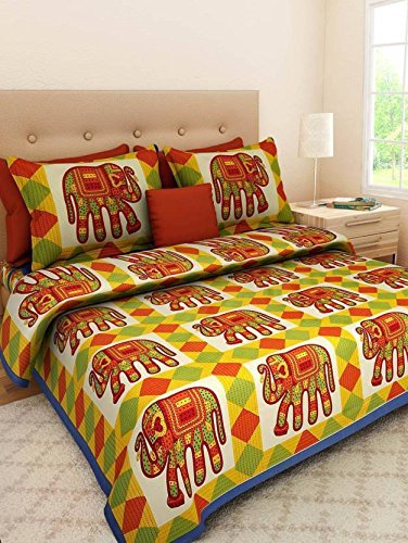 Jaipur-Prints-100-Cotton-Rajasthani-Tradition-King-Size-Double-Bedsheet-with-2-Pillow-CoverMulti