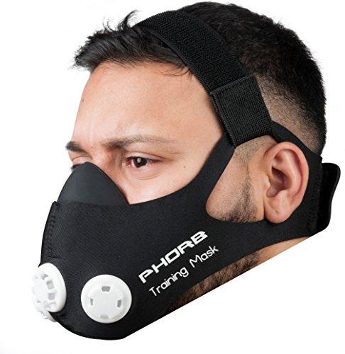 Phorb Training Mask schwarz Größe M Atemmaske für Crossfit Trainingsmaske zum Widerstandstraining steigert Ausdauer beim Fußball Joggen Laufen Radfahren Fitness Kondition beim Mma Workout ähnlich wie Höhentraining