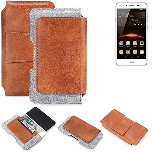 K-S-Trade® Für Huawei Y5 II Single SIM Gürteltasche Schutz Hülle Gürtel Tasche Schutzhülle Handy Smartphone Tasche Handyhülle PU + Filz, Braun (1x)