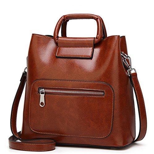 f46af8dd8843a XinMaoYuan Herbst Und Winter Öl Wachs Leder Tasche Handtasche Vertikale  Eimer Reißverschluss Farbe Handtaschen Braun