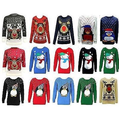 Para niños de forma elegante con un Clothing para niños diseño de funda de punto para Retro jersey de Navidad 5-12 años [diseño de paisaje nevado de reno negro]