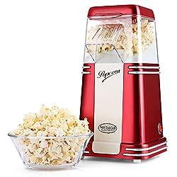 Nostalgia Ölfreie Popcornmaschine im Retro-Metallgehäuse, 1100W Heißluft Popcorn Maker mit Messbecher, Eine Taste zu Bedienen, Rot