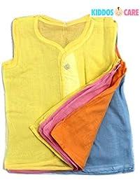 KiddosCare Baby Cotton Sleeveless Button Jabla (Multicolor, Medium, Pack of 12)