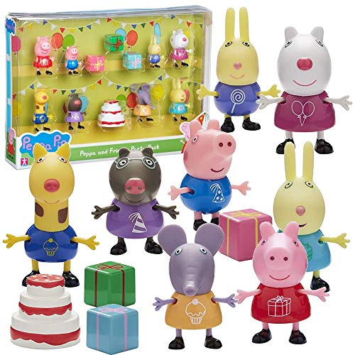 Character World Party Pack | Spiel Figuren Set | Peppa Wutz | Peppa Pig | 12-teilig (Peppa Thema Pig Geburtstag)