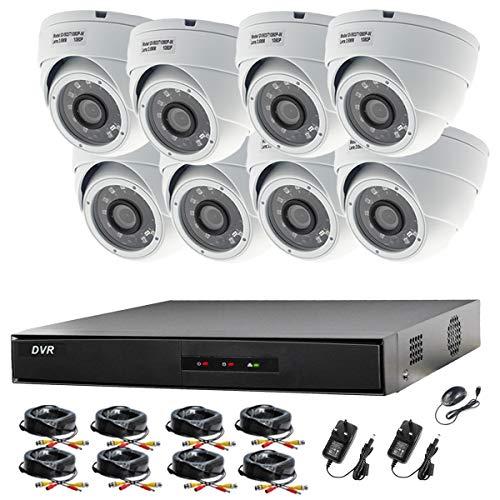 Videoüberwachungsanlage Hikvision 1080P CH DVR und 8x Sony Dome-Kameras 2,4MP 1080P Full HD Nachtsicht für Innen und Außen -