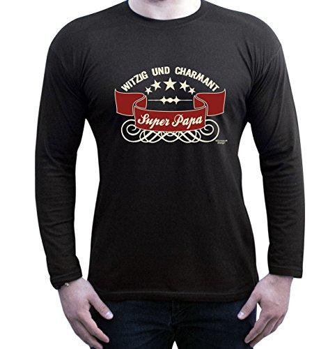 Langarm Fun-T-Shirt Herren Outfit als Geschenkeidee zum Geburtstag Größen von S - 5XL Super - Papa Farbe: schwarz Schwarz