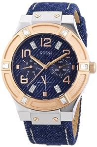 Guess Ladies Sport - Reloj de cuarzo para mujer, con correa de cuero, color azul de Guess