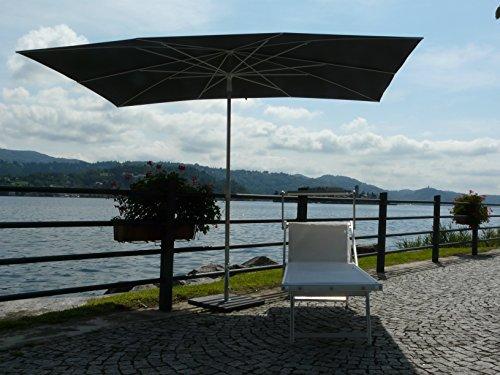 Maffei Art 138r Kronos Sonnenschirm rechteckig cm 200x 300, Stoff Polyester wasserdicht. Made in Italy. Farbe Grau