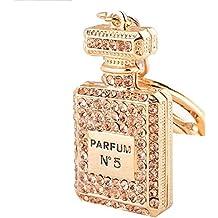 Creativo llavero con forma de frasco de perfume y diamantes de imitación, para regalo de