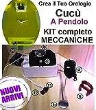 kit meccanica a cucù con pendolo basculante completa di Movimento Meccanismo mod.E15, basculante interamente in metallo COLOR ORO e Lancette A GOCCIA