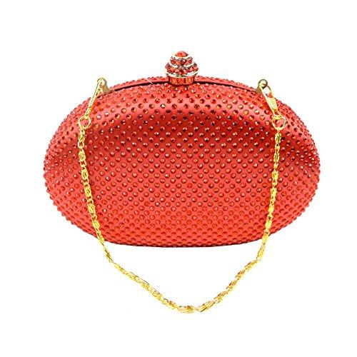 Yingzu Uovo A forma di Partito Frizione Borsa per Donne Strass Diamante Frizione Sera Borsa (Arancio) Arancio