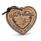 Fashionalarm Schlüsselanhänger Uroma & Urenkelin - EIN Herz eine Seele aus Holz mit Gravur | Geburtstag Geschenk Idee Geburt Baby Urenkeltochter