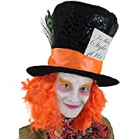 DAM MAD HATTER TOP HAT WITH ATTACHED ORANGE WIG, PEACOCK FEATHER & THICK RIBBON (