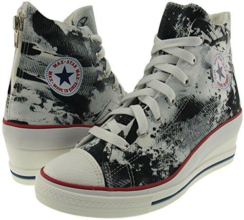 Maxstar 7 trous zippé à chaussures à talon compensé Sneakers Noir