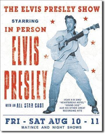 Star 55Large Elvis Presley Show vintage retro metal Tin Wall Plaque Sign 40,6x (Elvis Presley Tin)