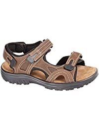 Bio Comfort Mens Martin Brown Real Leather Adjustable Touch Fasten Comfort Gladiator Summer Sandals Shoes Size 7-12