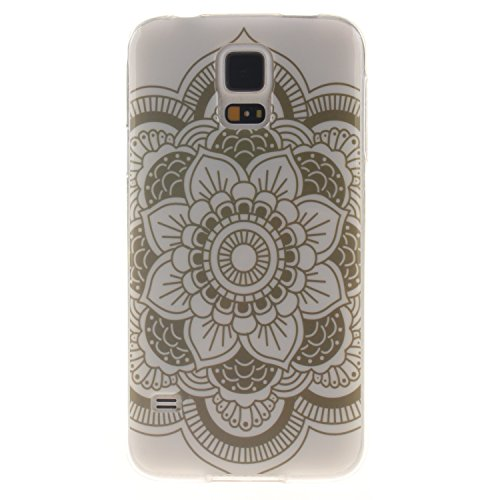 Coque Samsung Galaxy S5, Téléphone étui pour Samsung Galaxy S5, Anlike Flexible protection en Soft TPU Silicone Shell Etui Housse de Protection Coque Etui Silicone Transparente housse etui case cover pour Samsung Galaxy S5 (5,1 pouces) - fleur blanche