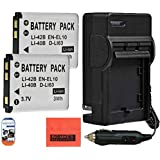 2-Pack of EN-EL10 Batteries And Charger for Nikon Coolpix S60 S80 S200 S210 S220 S230 S500 S510 S520 S570 S600 S700 S3000 S4000 S5100 Digital Camera + More!!