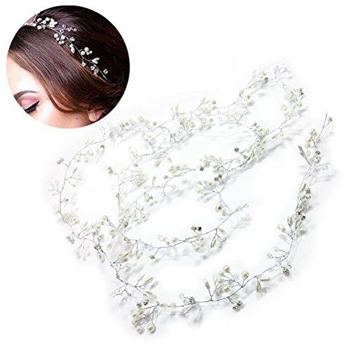 Frcolor Hochzeit Stirnband, Braut Kopfschmuck für Brautjungfer und Flowergirls Perlen Haar Reben Kopfschmuck für Frauen und Mädchen (19,7 Zoll)