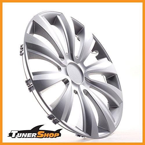 Tunershop 13 Zoll Radkappen Radzierblenden Radblenden passend für VW Stahlfelgen #2432074 Silber Winter Sommer