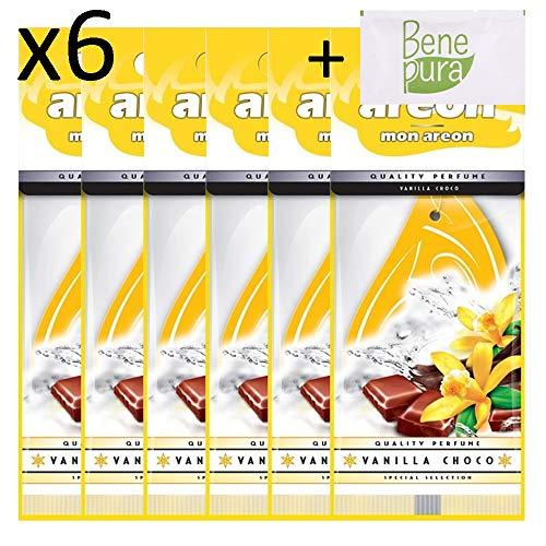 AREON Mon Vanilla Choco Deodorante per Auto Appeso Giallo-Goccia-Furgone, Camion, Camper, casa, Ufficio, Bagno, Palestra-Armadio, cassetti-Set di 6