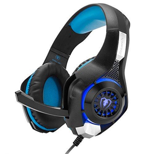 Gaming Headset, Kopfhörer für PS4 PC Xbox One Laptop Tablet Handy mit Mikrofon Geräuschunterdrückung Bass Verbessert 3.5mm Kostenlos Y Splitter (Schwarz & Blau) (Spiele Xbox Für Computer)