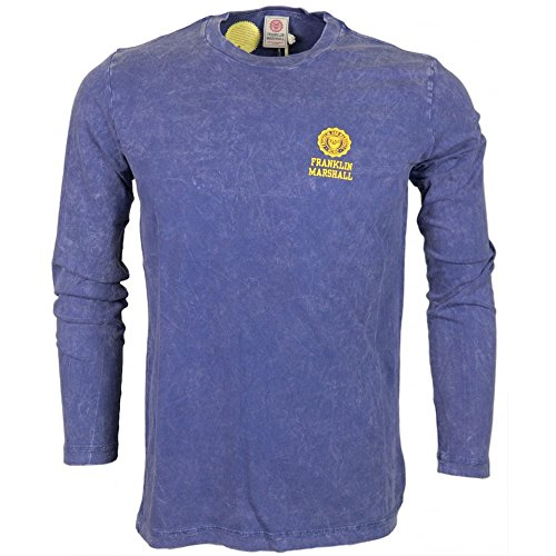 Franklin-Marshall-MF350-Round-Neck-Crest-Faded-Logo-Long-Sleeve-Navy-T-Shirt