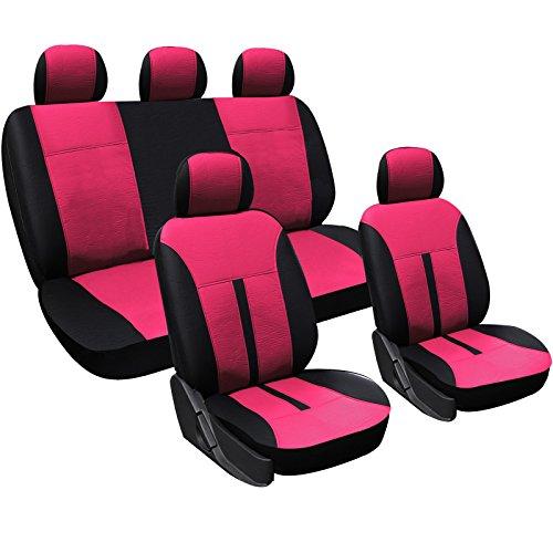 WOLTU AS7288pk Universal Schonbezüge für Auto Sitzbezüge Sitzschoner Sitzbezug Auflage, Kunstleder, Schwarz-Pink