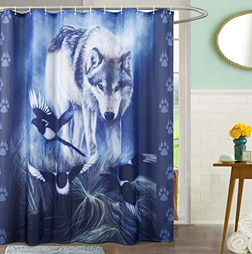 James Corwin Home Collection Badezimmer-Duschvorhang-Set, Tierliebhaber, Original Ölgemälde, Heimdekoration, Metallösen, inkl. 12 Haken Wolf and Magpies -