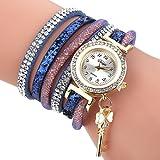Uhren Damen, HUIHUI Geflochten Armbanduhren Günstige Uhren Wasserdicht Beliebte Casual Analoge Quarz Uhr Luxus Armband Coole Uhren Lederarmband Mädchen Frau Uhr (Blau)