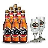 Estrella Galicia Geschenkset - 6 Flaschen Estrella Galicia Cerveza Especial + 2 Original Estrella Galicia Gläser (6 x 0.33l)