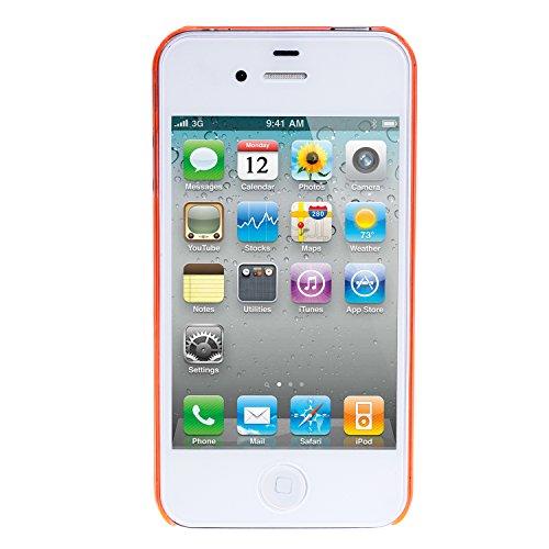 wortek® Schutzhülle Apple iPhone 4 / 4S Crystal Case Transparent / Orange (harte Rückseite) iPhone 4 / 4S - Orange