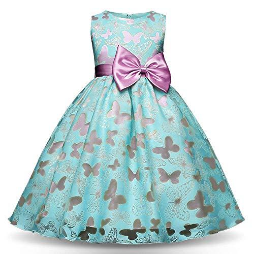 QJKai Kleid Print Schmetterling Kleid Mädchen Prinzessin verkleiden