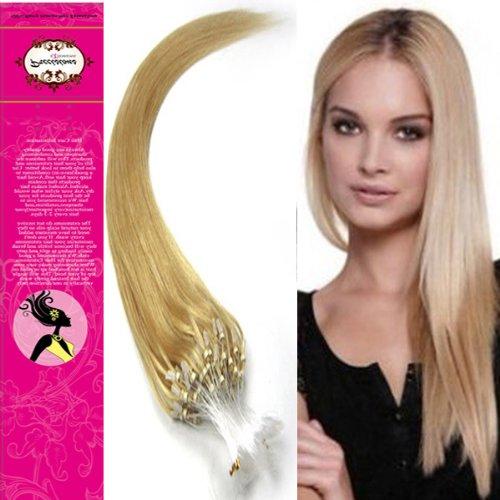 Passants Style 55,9 cm facile anneaux micro perles pointe 100% Vrais Cheveux Humains Extensions cheveux raides Couleur 24 Blond Doré Design Beauty Salon
