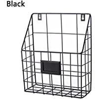 ShouYu Revistero Estante montado en la pared del hierro labrado estante simple del compartimiento de periódico de la sala de estar del estante Cesta del almacenaje (negro, 25 * 10 * 30CM)