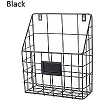 ShouYu Wrought iron Wall Mounted Bookshelf simple living room newspaper rack magazine rack Storage basket (Black,25*10*30CM)