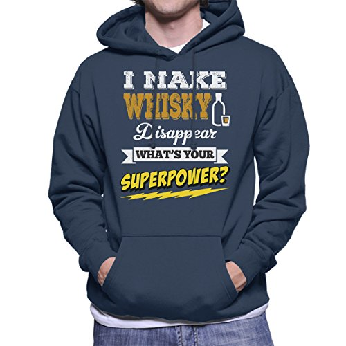 I Make Whisky Disappear Whats Your Superpower Men's Hooded Sweatshirt Navy blue