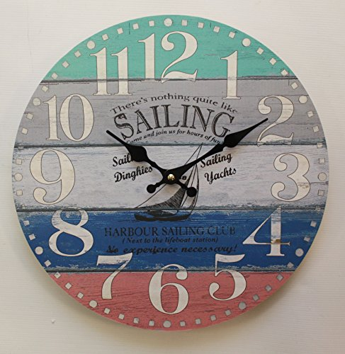Home-ever 33 cm Holz Runde Wanduhr Nothing Like Sailing