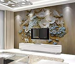 Idea Regalo - Fotomurali 3D Disposizione Dei Fiori In Rilievo Vaso 3D Effetto Carta Da Parati 3D Effetto Quadri Murali Gigante Murale Decorazione