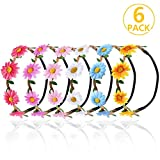 Fiori Fascia,PAMIYO 6 Pezzi Summer Fashion Womens Flower Headband Headdress Hairband Styling Accessories For Women Ladies Girls, Multicolore Fasce Corona di Fiori Ghirlanda