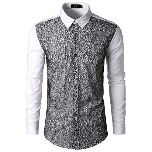 Herren Oberteile,TWBB Autumn Winter Mode Spitze Patchwork CardiganShirt Pollover Sweatshirt Casual Tops Lange Ärmel Männer V-Neck Hemd,S-2XL