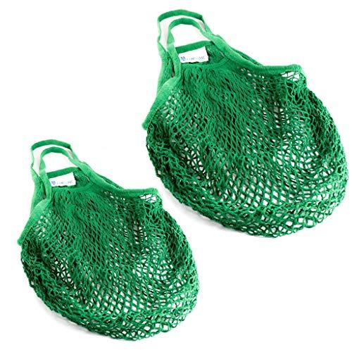 Lantelme 2 Stück Einkaufsnetze Baumwolle Set Wiederverwendbare Einkausftasche für Obst Gemüse...